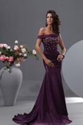 Sexy Single Off Shoulder Stretch Satin Mermaid Gown With Crystal