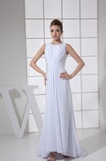 Sleeveless Chiffon Floor-Length Central-Ruched Dress With Low-V Back
