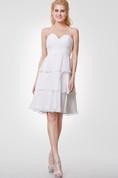 Sweetheart Layered A-line Chiffon Knee Length Dress