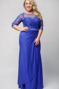 Sheath Floor-Length Jewel Half Sleeve Jersey Beading Lace Zipper Dress