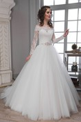 A-Line Long Off-The-Shoulder Long-Sleeve Illusion Tulle Lace Dress With Waist Jewellery