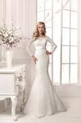 Long Sleeve Crystal Detailing Sheath Lace Floor Length Dress