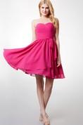 Dashing Strapless Sweetheart Top-Pleated Layered Chiffon Dress With Belt