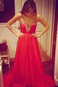 Sexy Red Sweetheart Prom Dress 2016 Chiffon Long A-line Evening Party Gowns