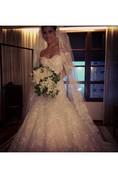 Gorgeous Lace Long Sleeve Mermaid Wedding Dress Long Train With Veil