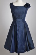 Knee-length Scooped A-line Satin Bridesmaid Dress With 3D Petal