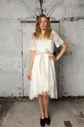 V-Neck Short Sleeve A-Line Knee Length Lace Dress With Bow Sash