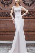 Mermaid Floor-Length Bateau Long Sleeve Satin Appliques Beading Lace-Up Dress