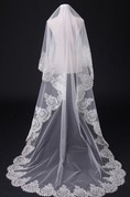 Cathedral Wedding Veil With Rhinestones and Lace Applique Edge