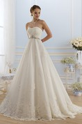 Ball Gown Floor-Length Strapless Sleeveless Corset-Back Tulle Lace Dress With Appliques And Waist Jewellery