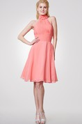 Halter Floral Neck A-line Knee Length Chiffon Dress With Bandage