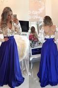 Modern Lace Chiffon Long Sleev Prom Dress Zipper Button Back