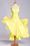 A-line V-neck Chiffon Dress with Ruching Embelishment
