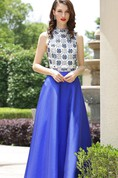 A-Line Floor-Length High-Neck Sleeveless Taffeta Beading Zipper Dress