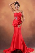 Sexy Sweetheart Taffeta Mermaid Gown With Sequins and Back Keyholes