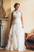 A-Line Floor-Length Bateau Neck Short Sleeve Organza Court Train Lace-Up Back Tiers Dress