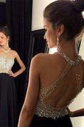 Chic Crystals Beadings Chiffon Prom Dress 2016 A-line Halter Sleeveless
