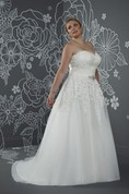 A-Line Floor-Length Sweetheart Sleeveless Satin Court Train Lace-Up Back Appliques Dress