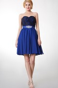 Classic Strapless Sweetheart Top-laced Layered A-line Chiffon Dress
