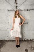 Cap Sleeve Column Tea Length Lace Gown With Pleats