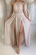 Elegant Halter Sleeveless 2016 Prom Dresses Split Floor Length Chiffon