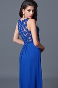 Delicate Sleeveless Long Dress with Lace-embellished Back