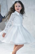 Flower Girl Shirt Style Taffeta A-line Short Dress With Lace Top