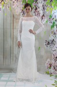 Column Long Sleeve Bateau Neck Lace Dress With Low-V Back