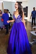 Elegant V-neck Royal Blue 2016 Prom Dresses Lace Sleeveless Floor Length