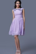 Short A-Line Sleeveless Chiffon Dress With Beadwork and Jewel Neck