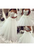 Romantic Tulle Lace Appliques Princess Wedding Dress 2016 Sweetheart