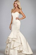 Charming Strapless Pleated Mermaid Gown With Lace Up Back
