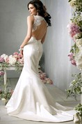 Demure V-Neck Lace Bodice Satin Mermaid Gown With Open Back