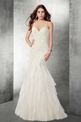 Sexy Lace And Tulle Mermaid Wedding Dress With Open Back
