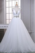 A-Line Ball Gown Floor-Length Off-The-Shoulder One-Shoulder Sweetheart Beading Corset Back Tulle Lace Satin Dress