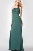 One Shoulder Ruched A-line Long Chiffon Dress
