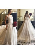Sweetheart Cap Sleeves Illusion Back A-line Lace Gown With Sash