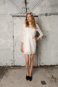 Sheath Short Long Sleeve Lace Dress With Low-V Back