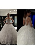 Illusion Neckline Sweetheart Lace Ball Gown With Illusion Back and Long Sleeves