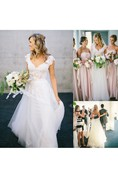 Cap-sleeved V-neck A-line Tulle Gown With Lace Bodice