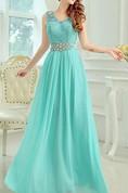 Romantic V-Neck A-Line Floor-Length Lace Prom Dress
