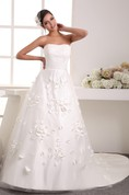 Strapless A-Line Ruched Top and Ball-Gown With Embellishment