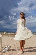 Long Sleeve Jewel Neck A-Line Knee Length Lace Gown With Satin Sash