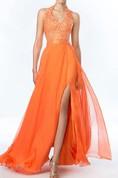 Sweet Halter A-Line Beadings Split-Front Prom Dress