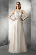 Jewel Neck Long Tulle and Lace Wedding Gown