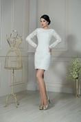 Sheath Short Jewel-Neck Illusion-Sleeve Low-V-Back Lace Dress
