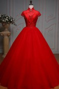 Ball Gown Long High Neck Bell Cap Pleats Beading Lace-Up Back Tulle Lace Dress