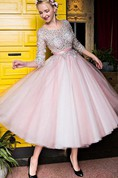 3-4 Sleeve Boat Neckline Applique A Line Tea Length Evening Dress