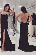 Sexy Black Beadings Prom Dress 2016 Front Split Long Chiffon Gowns
