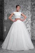 Ball Gown Long Bateau Cap-Sleeve Lace-Up Lace Dress